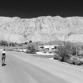 Two Girls / Utah by Mj Schaer - Black & White Portraits & People ( photojournal, b&w, travel, landscape, people )