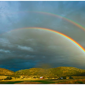 Double Rainbow Over the Pasture  by George Kremer - Landscapes Weather ( clouds, double rainbow, rain storm, parture, storm, stormy skies, rainbow, rain, fields, colorful, mood factory, vibrant, happiness, January, moods, emotions, inspiration )
