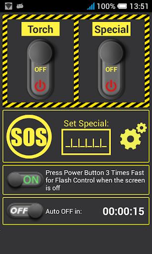 Power Button Flashlight LED ON
