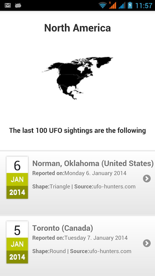 Latest UFO sightings- screenshot