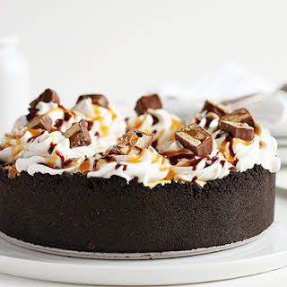 Snickers Bar Cheesecake Pie.