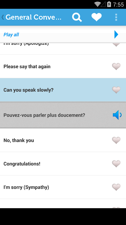 Learn French Phrasebook - screenshot