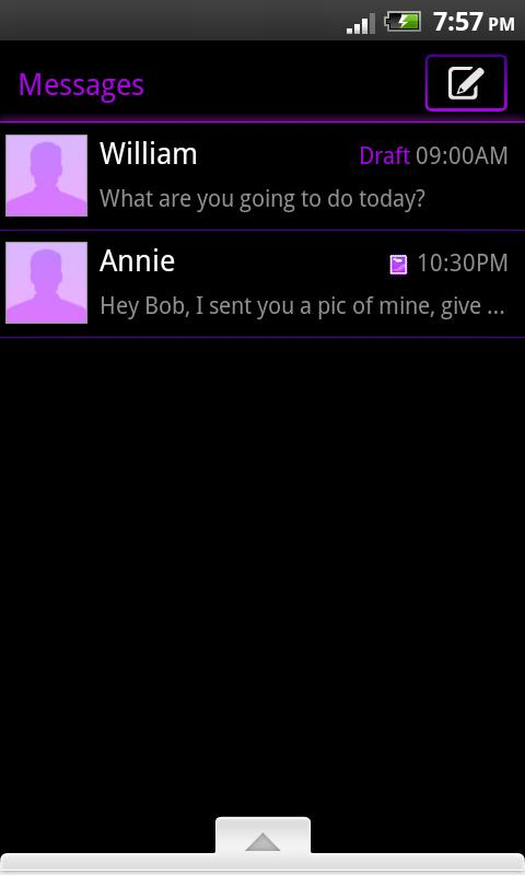 GO SMS Theme Purple Neon - screenshot