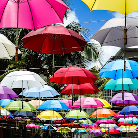 Nice colorful umbrella sky by Peter Jerman - Artistic Objects Other Objects ( color, umbrella, vacations, shade, waterfront, port louis, attraction )