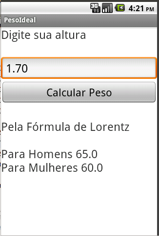 Peso Ideal Simples - screenshot