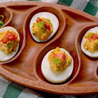 Kimchi Deviled Eggs.