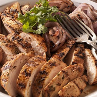 Citrus-Marinated Chicken Breasts with Grilled Red Onions.