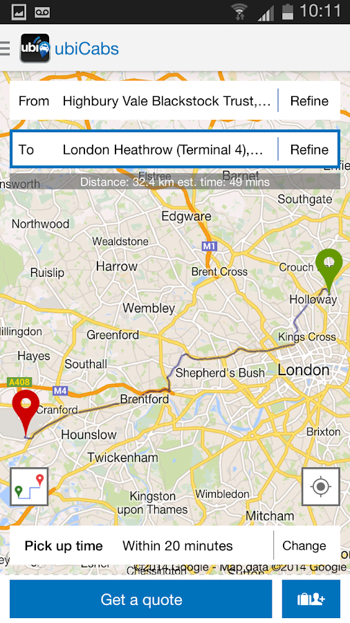 ubiCabs -Book taxis & minicabs - screenshot