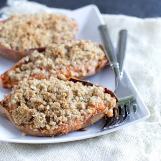 Twice Baked Sweet Potatoes with Brown Sugar Crumble