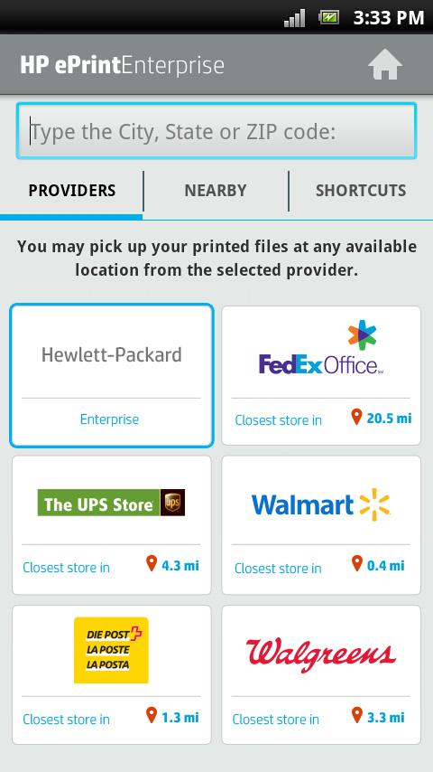 HP ePrint Enterprise (service)- screenshot