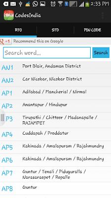 India Codes - (STD,PIN,RTO) - screenshot