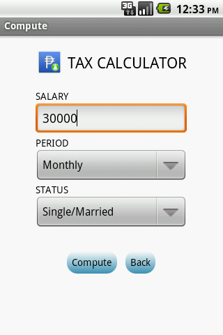 Tax Calculator - screenshot