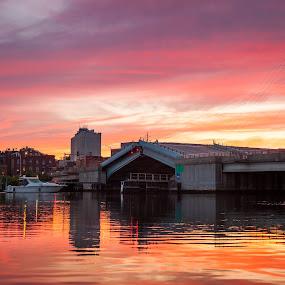 Raising the Bridge by Jeff Klein - Landscapes Sunsets & Sunrises ( water, sunset, norwalk, sono, bridge, boat, landscape )