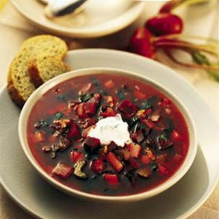 Hearty Borscht with Horseradish-Dill Sour Cream
