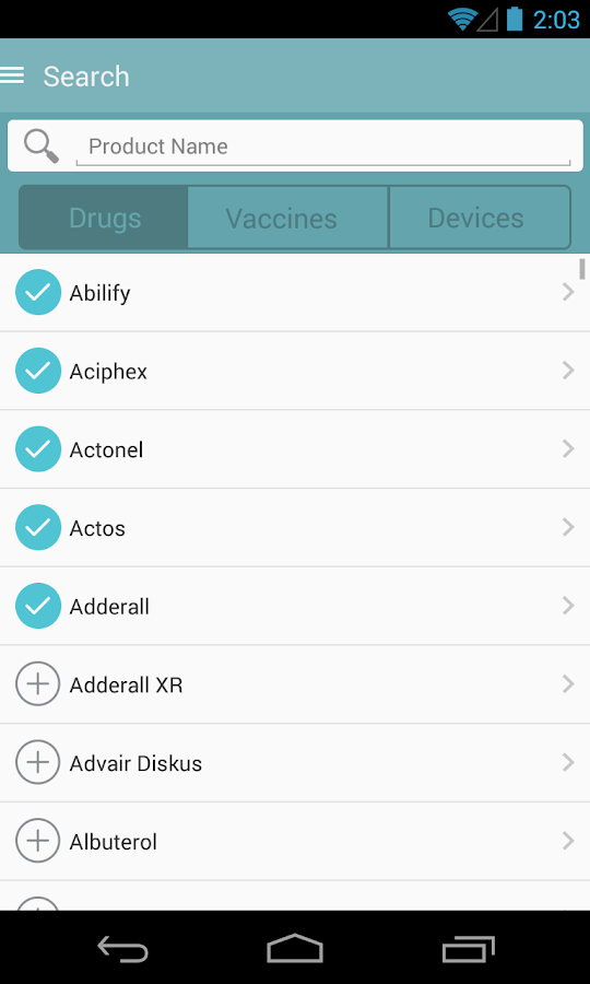 MedWatcher drug/device/vaccine - screenshot