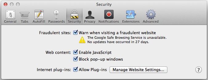 Screenshot of Safari security dialog