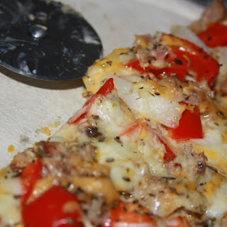 Gluten Free Vegetable and Tuna Pizza.