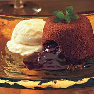 Molten Chocolate Cakes with Mint Fudge Sauce.