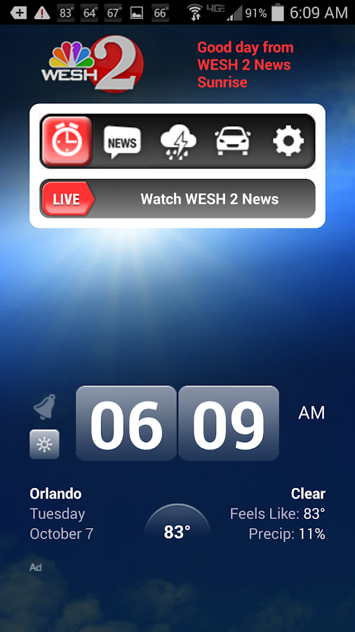 Alarm Clock WESH2 News Orlando- screenshot