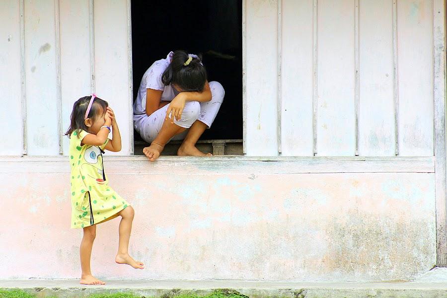 Camera shy village girl by Leong Jeam Wong - Babies & Children Children Candids ( girl, student, window, village, indonesia, shy, bashful )
