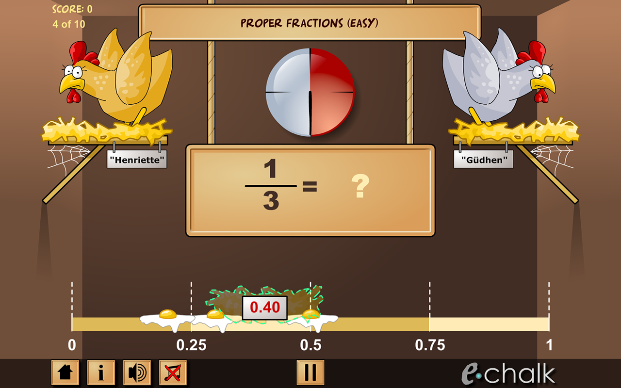 Chicken coop fractions games - screenshot