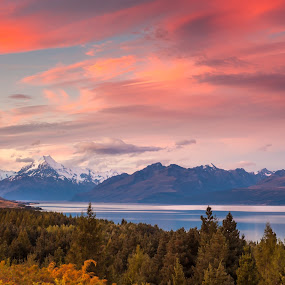 Mt Cook Sunset by Mick McKean - Landscapes Mountains & Hills ( tod, time of day, mountain, canterbury, colors, lake, forest, landscape, new zealand, colours, colour, mountains, red, sky, color, sunset, sundown, cloud, mt cook road, mt cook,  )