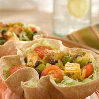 Blackened Chicken & Vegetable Tortilla Bowls.