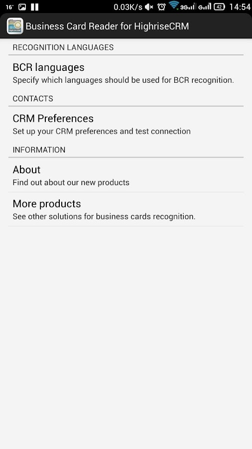 Free Business Card Reader for Highrise CRM- screenshot