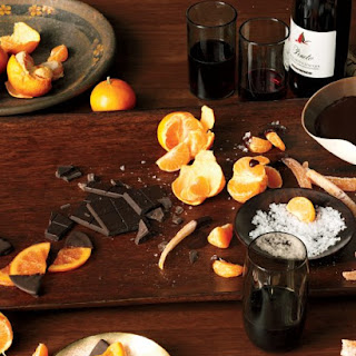 Chocolate Fondue with Clementines, Candied Grapefruit Peel, and Glaceed Orange Slices