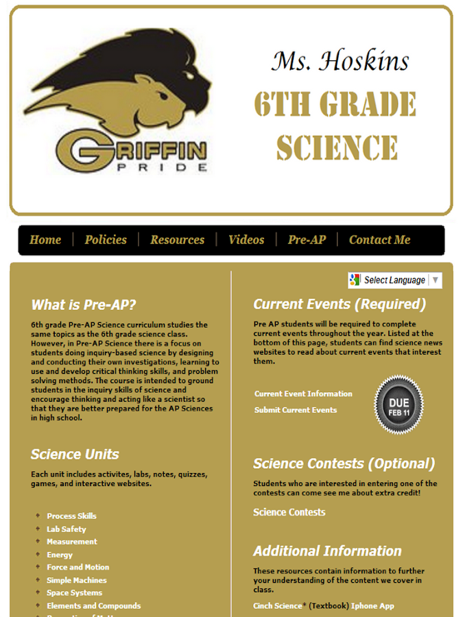 Ms Hoskins 6th Grade Science - screenshot