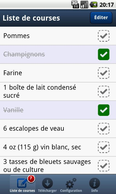 Liste de courses PC à Android - screenshot