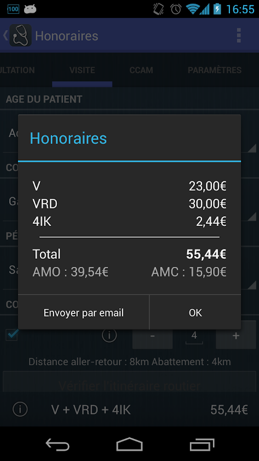 Honoraires- screenshot