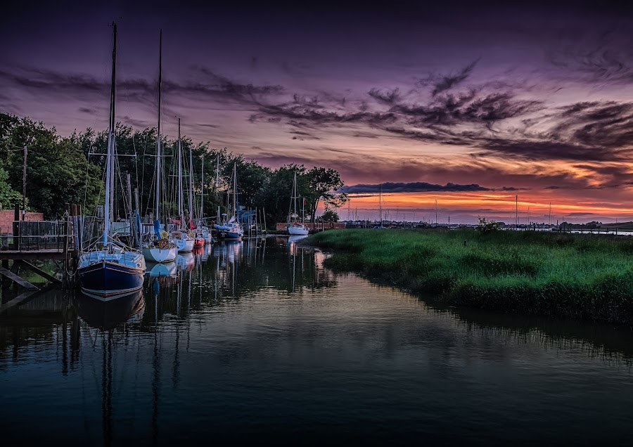 Skippool Creek by Jim Keating - Landscapes Waterscapes ( tranquil, #garyfongdramaticlight, #wtfbobdavis, dawn, relax, creek, yacht, tranquility, sunrise, relaxing, boat,  )