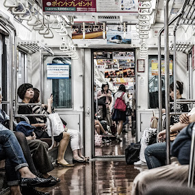 caught in the act! by Nicola Scarselli - People Street & Candids ( japan, metro, depth of field, tokyo, dof, people )