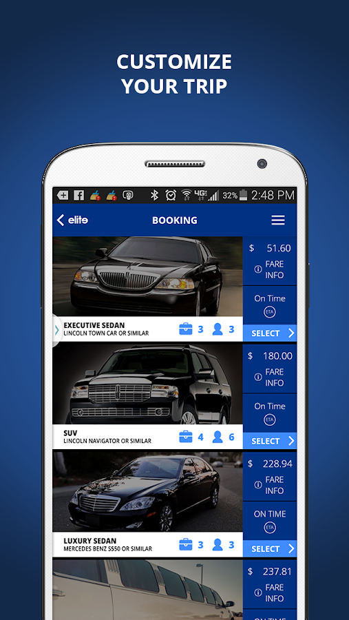 Elite Limousine App- screenshot