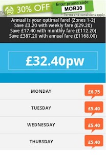 TFL Fare Calculator - screenshot thumbnail