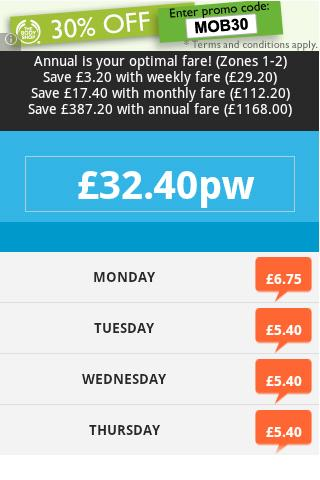 TFL Fare Calculator- screenshot