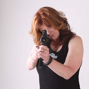 Brenda & a Gun by Joshua L. Dearden - People Portraits of Women ( woman, fun, portrait, gun, photography )