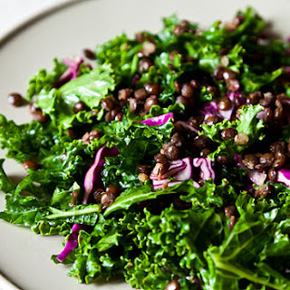 Raw Kale Salad with Lentils and Sweet Apricot Vinaigrette.