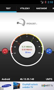 Rychlost.cz - měření připojení - screenshot thumbnail
