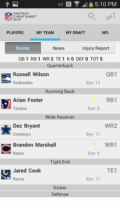 NFL Fantasy Cheat Sheet - screenshot