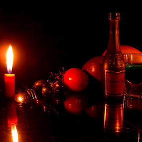 Wine set by Ek Jam - Food & Drink Alcohol & Drinks ( wine, fruit, willyam wijaya, fruits, ek jam, romantic, spoon, yellow, memory, candle, red, lighting, blue, grape, drink, glass, icewine )