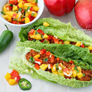 Buffalo Chicken Lettuce Wraps with Mango Salsa