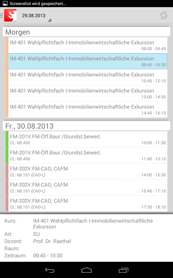 HWR Berlin Stundenplan FBII - screenshot