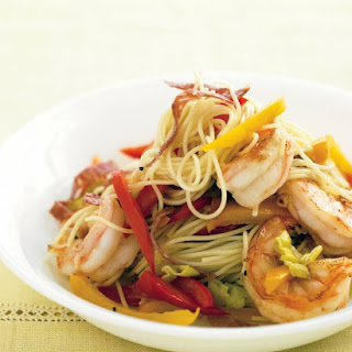 Capellini with Shrimp, Peppers, and Salami.