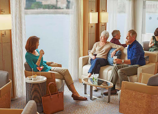 Viking-Longship-main-lounge - Mingle with like-minded guests in the casual atmosphere of the main lounge of your Viking Longship as you explore Europe's rivers.