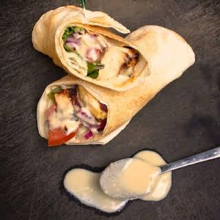 Chicken Shawarma Pita with Tahini Garlic Sauce.