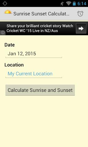 Sunrise Sunset Calculator
