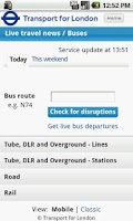 Screenshot of London Travel Updates Live
