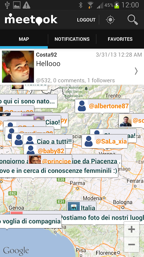 Meetook - social map - screenshot